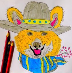 собаку Вельш-корги карандашом