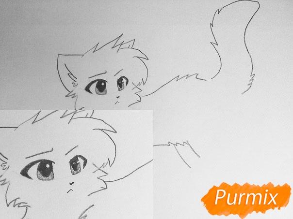 Как просто нарисовать два милых аниме котенка - шаг 4