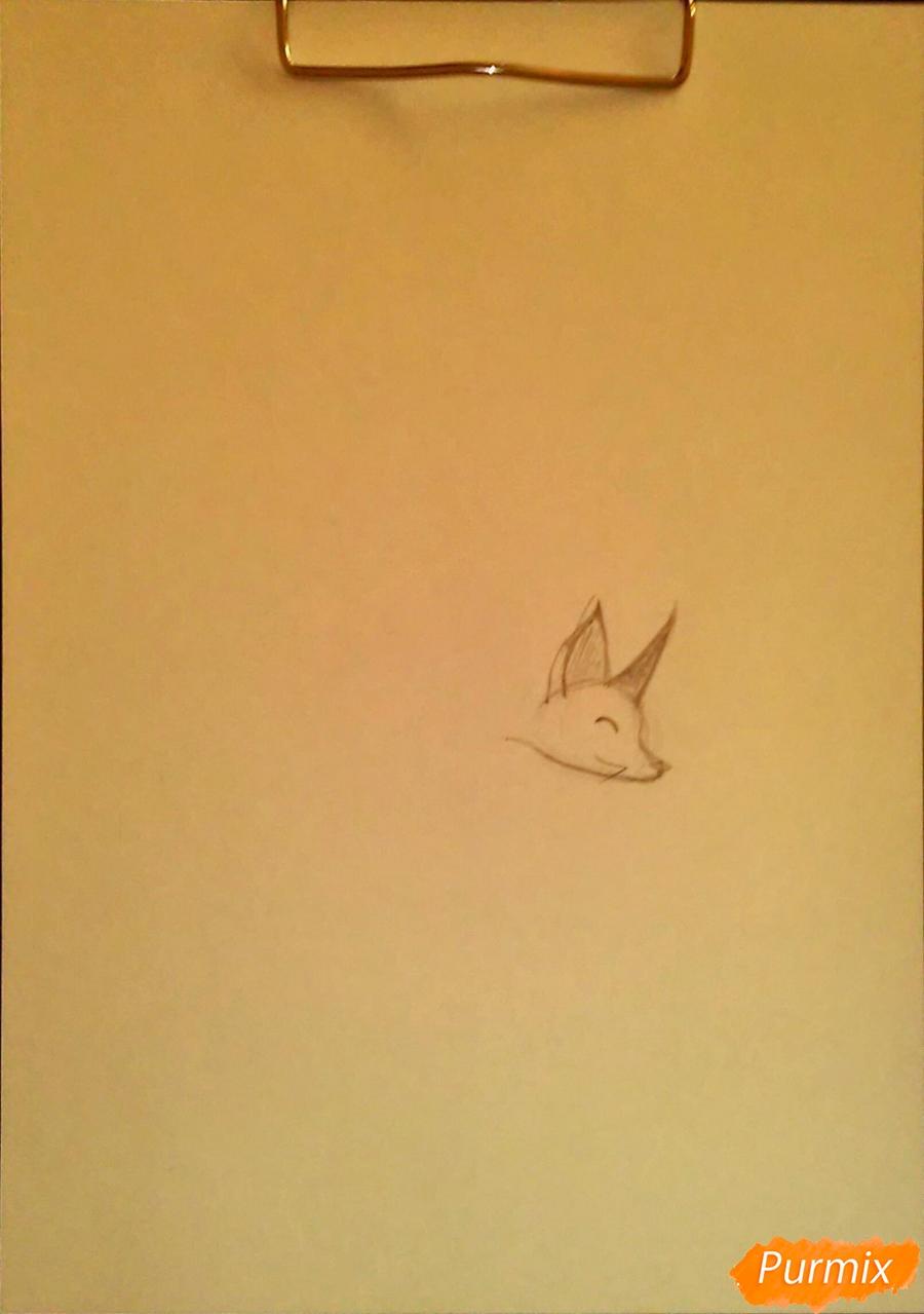 Как просто нарисовать лисичку - шаг 1