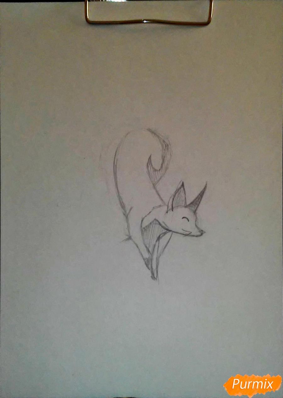 Как просто нарисовать лисичку - шаг 2