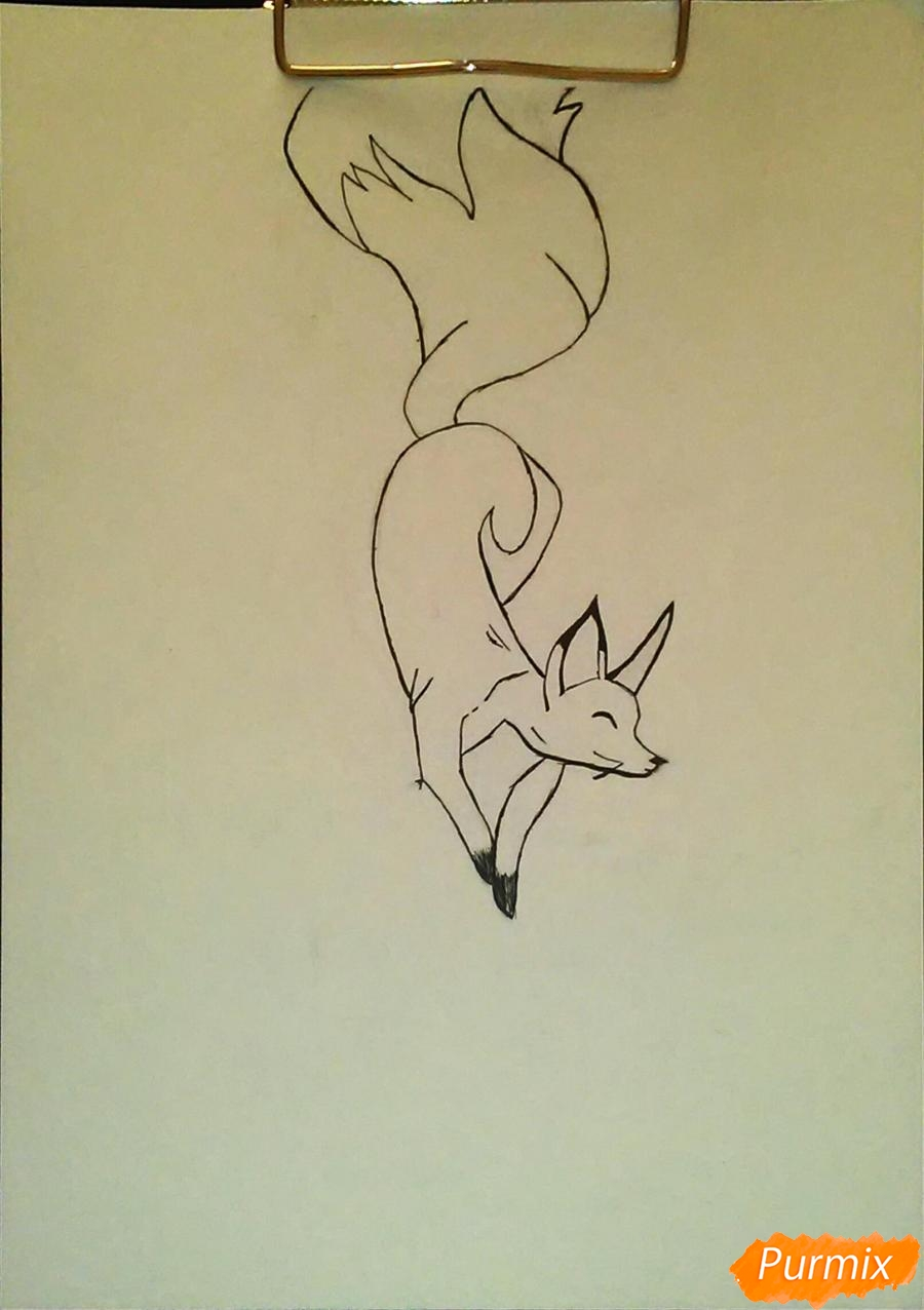 Как просто нарисовать лисичку - шаг 4