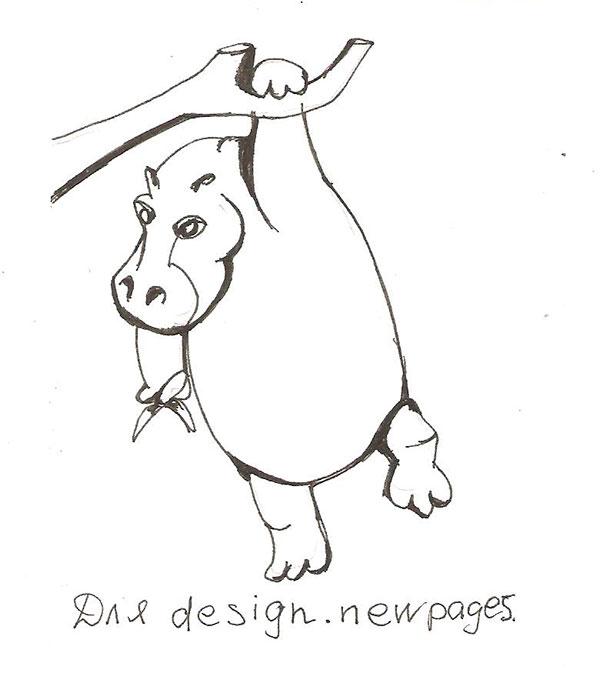 Рисуем бегемота висящего на дереве - шаг 5