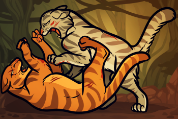 Рисуем борьбу двух кошек