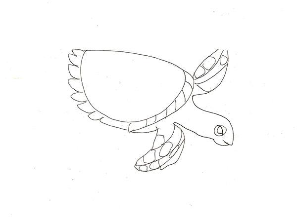 Рисуем морскую черепаху - шаг 4