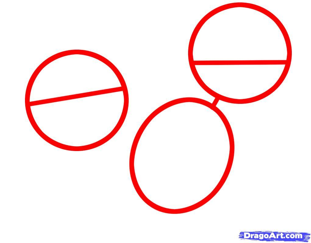 Рисуем двух щенков питбуля - шаг 1