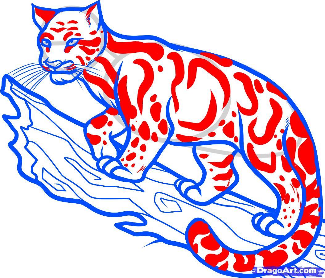 Рисуем дымчатого леопарда на дереве - шаг 8