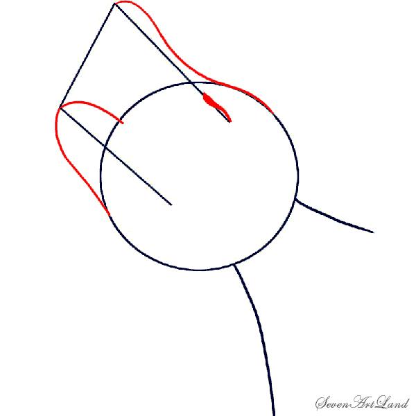 Рисуем голову воющего волка - шаг 2