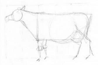 Рисуем корову с рогами - шаг 1