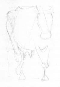 Рисуем корову в движении - шаг 1