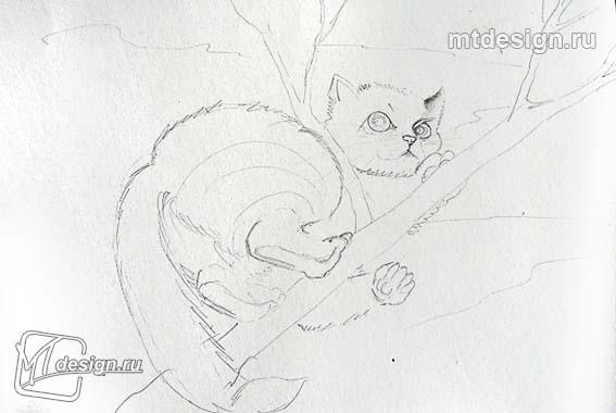 Рисуем котенок на дереве - шаг 1