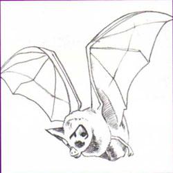 Рисуем летучую мышь - шаг 3