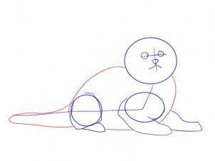 Как просто нарисовать лежащего котенка - шаг 4