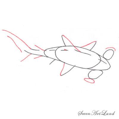 Рисуем молотоголовую акулу - шаг 4
