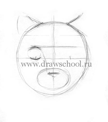 Рисуем мордочку кошки простым - шаг 3