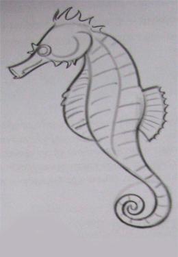 Рисуем морского конька - шаг 3