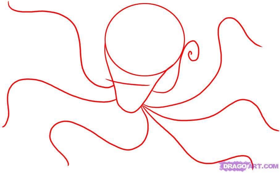 Рисуем осьминога карандашами - шаг 1