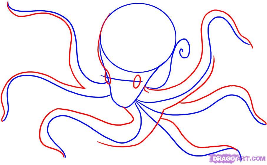 Рисуем осьминога карандашами - шаг 2