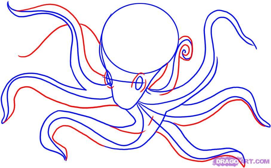Рисуем осьминога карандашами - шаг 3