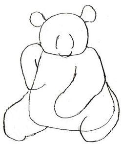 Рисуем сидящую панду - шаг 3