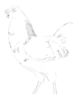 Рисуем петуха - шаг 3