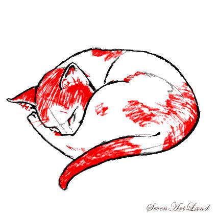 Рисуем Спящую кошку