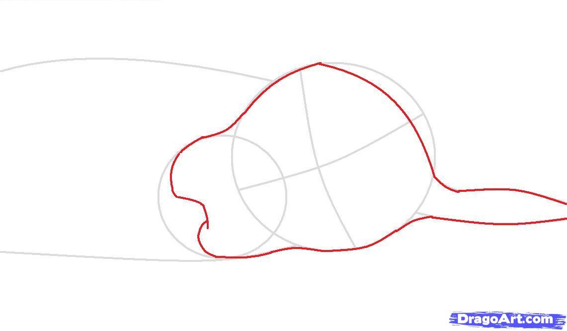 Как просто нарисовать спящую собаку - шаг 2