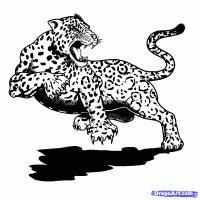 ягуара в прыжке карандашом на бумаге
