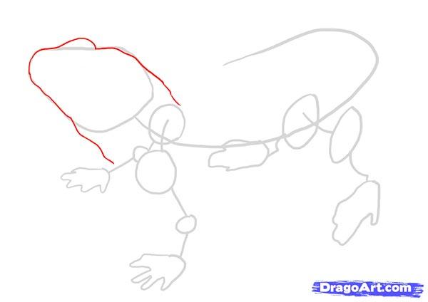 Рисуем ящерицу   для начинающих - шаг 2