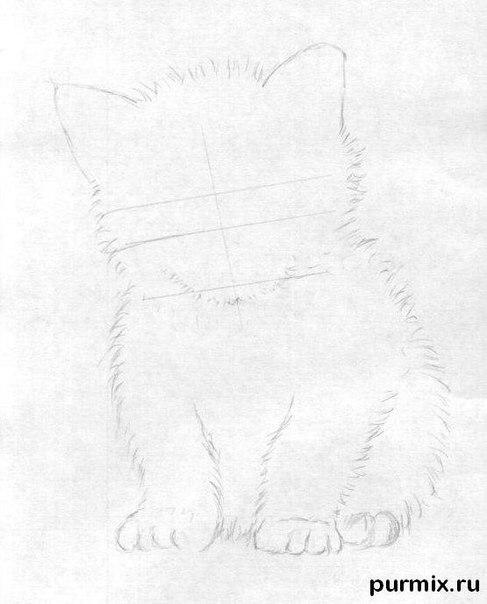 Рисуем маленького котенка простым - шаг 2