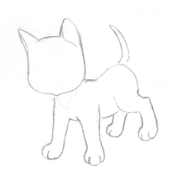 Рисуем котенка - шаг 2