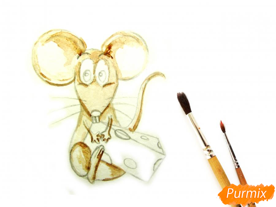 Мультяшная крыса с сыром - шаг 3