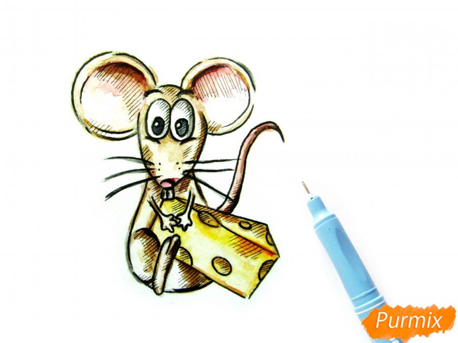 Мультяшная крыса с сыром - шаг 6
