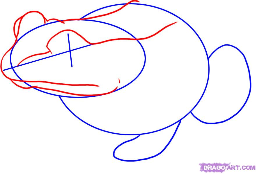 Рисуем лягушку   для начинающих - шаг 2