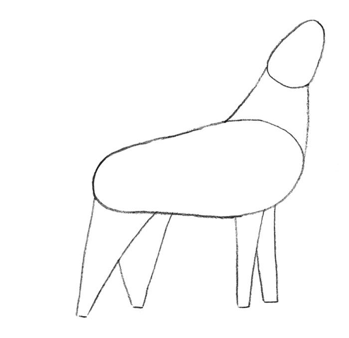 Как легко нарисовать воющего волка детям - шаг 1