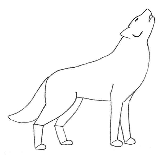Как легко нарисовать воющего волка детям - шаг 2