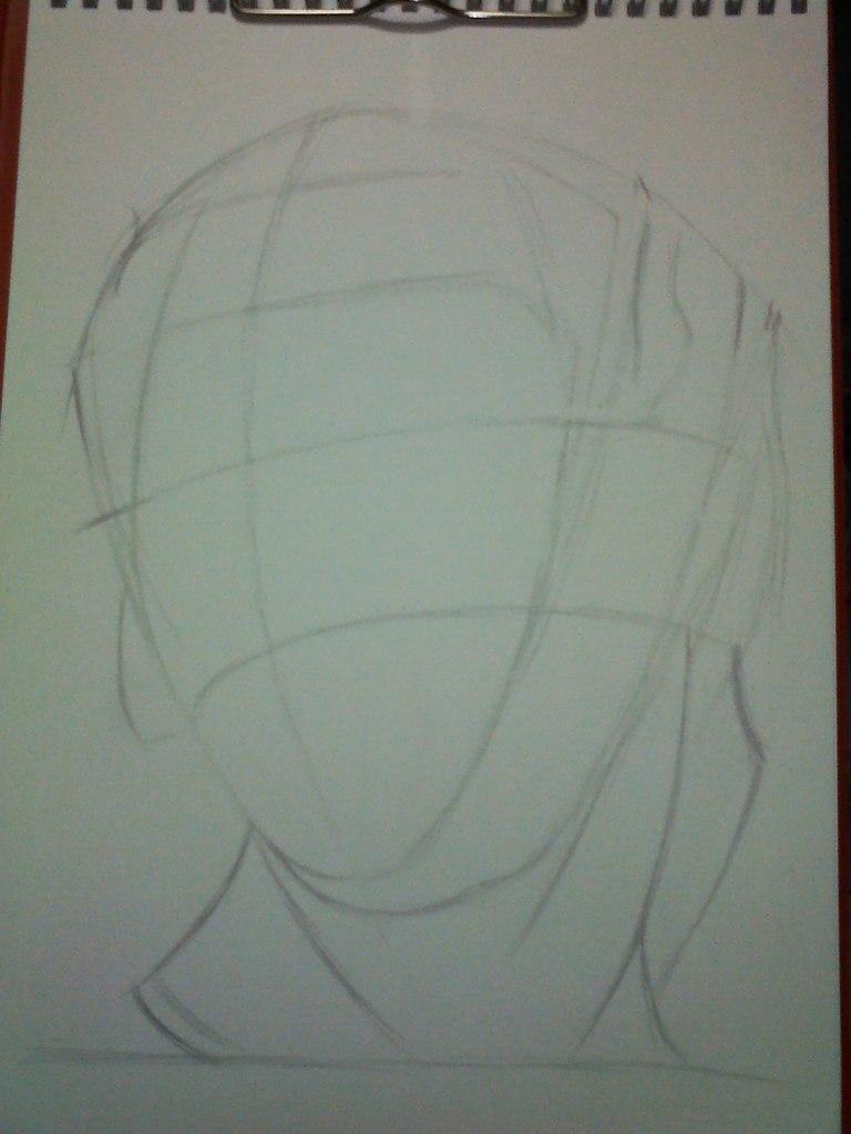 Рисуем гипсовую голову Антиноя - шаг 1