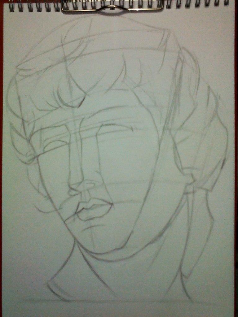 Рисуем гипсовую голову Антиноя - шаг 2
