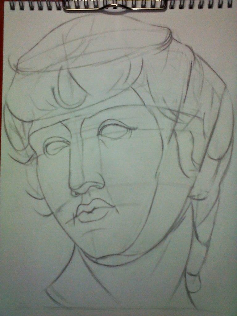 Рисуем гипсовую голову Антиноя - шаг 3