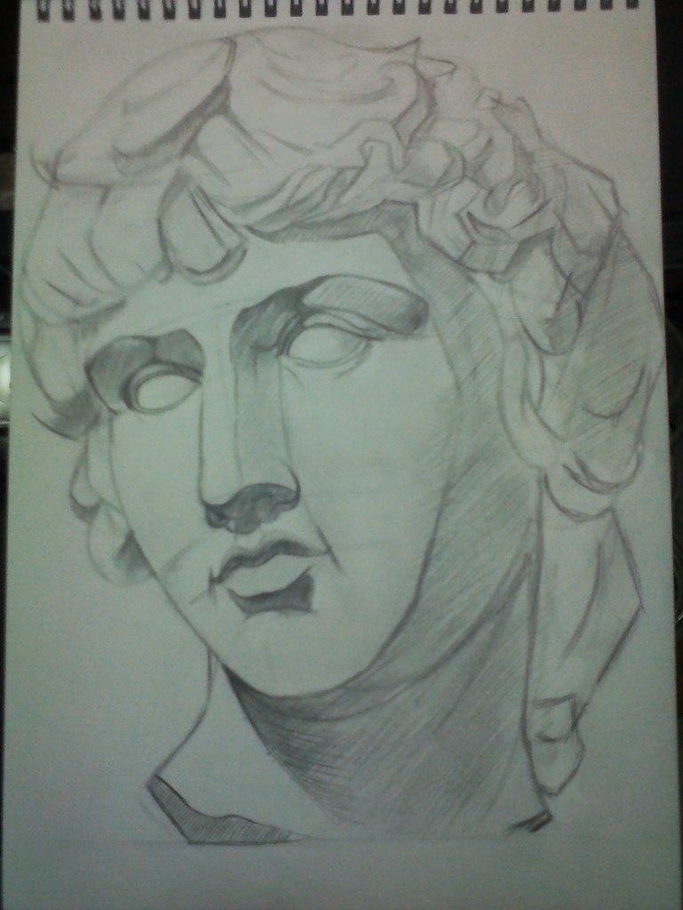Рисуем гипсовую голову Антиноя - шаг 4