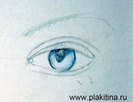 Рисуем женский глаз цветными карандашами - шаг 2