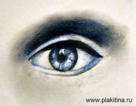 Рисуем женский глаз цветными карандашами - шаг 4