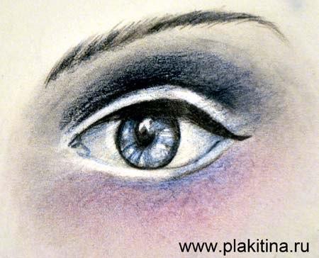 Рисуем женский глаз цветными карандашами - шаг 5