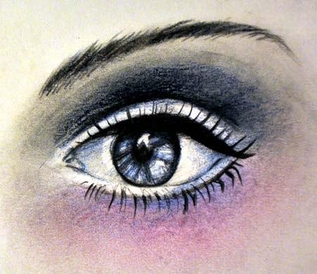 Рисуем женский глаз цветными карандашами - шаг 6