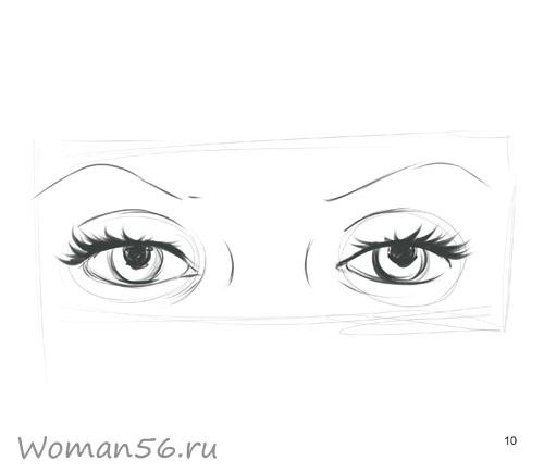 Как просто нарисовать женские глаза - шаг 10