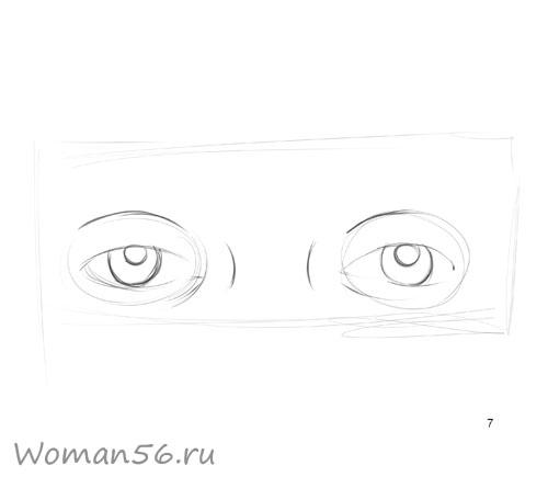 Как просто нарисовать женские глаза - шаг 7