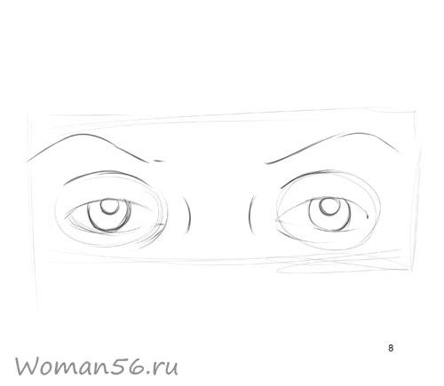 Как просто нарисовать женские глаза - шаг 8
