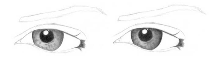 Учимся рисовать глаза человека - шаг 3