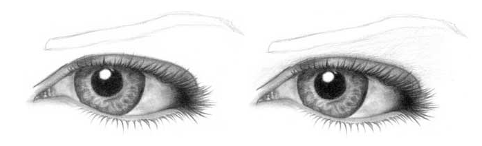 Учимся рисовать глаза человека - шаг 9