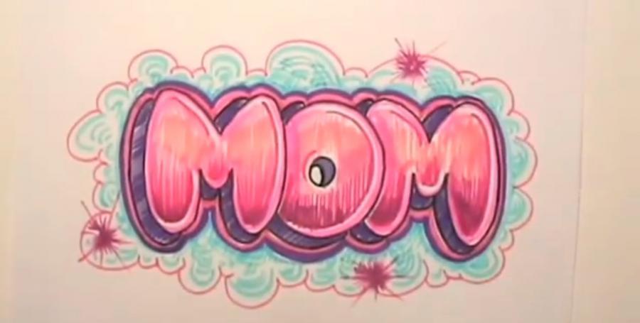 Рисуем слово MOM на бумаге карандашами - шаг 10