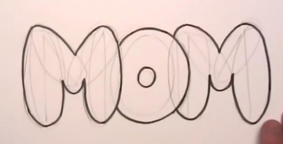 Рисуем слово MOM на бумаге карандашами - шаг 3